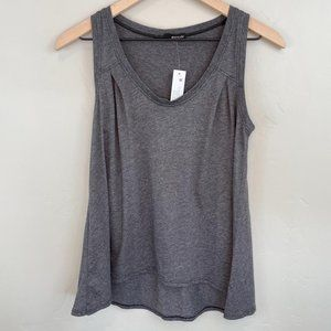 LA Made grey pleated accent scoop neck tank top XS